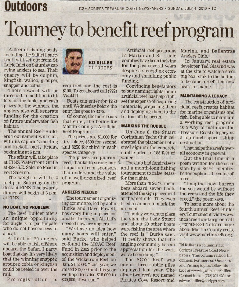 Tournament Benefits the Artificial Reef Program